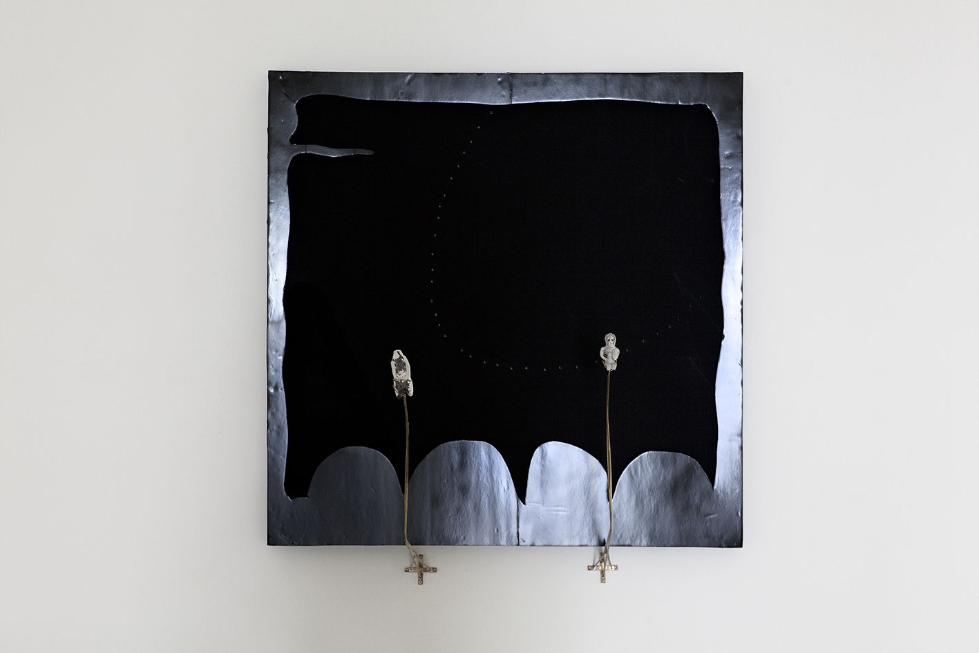 Gedi Sibony, Held By Hands, 2012, Acrylic paint, canvas, foam core, brass, plaster, 51 1/8 x 51 1/8 inches