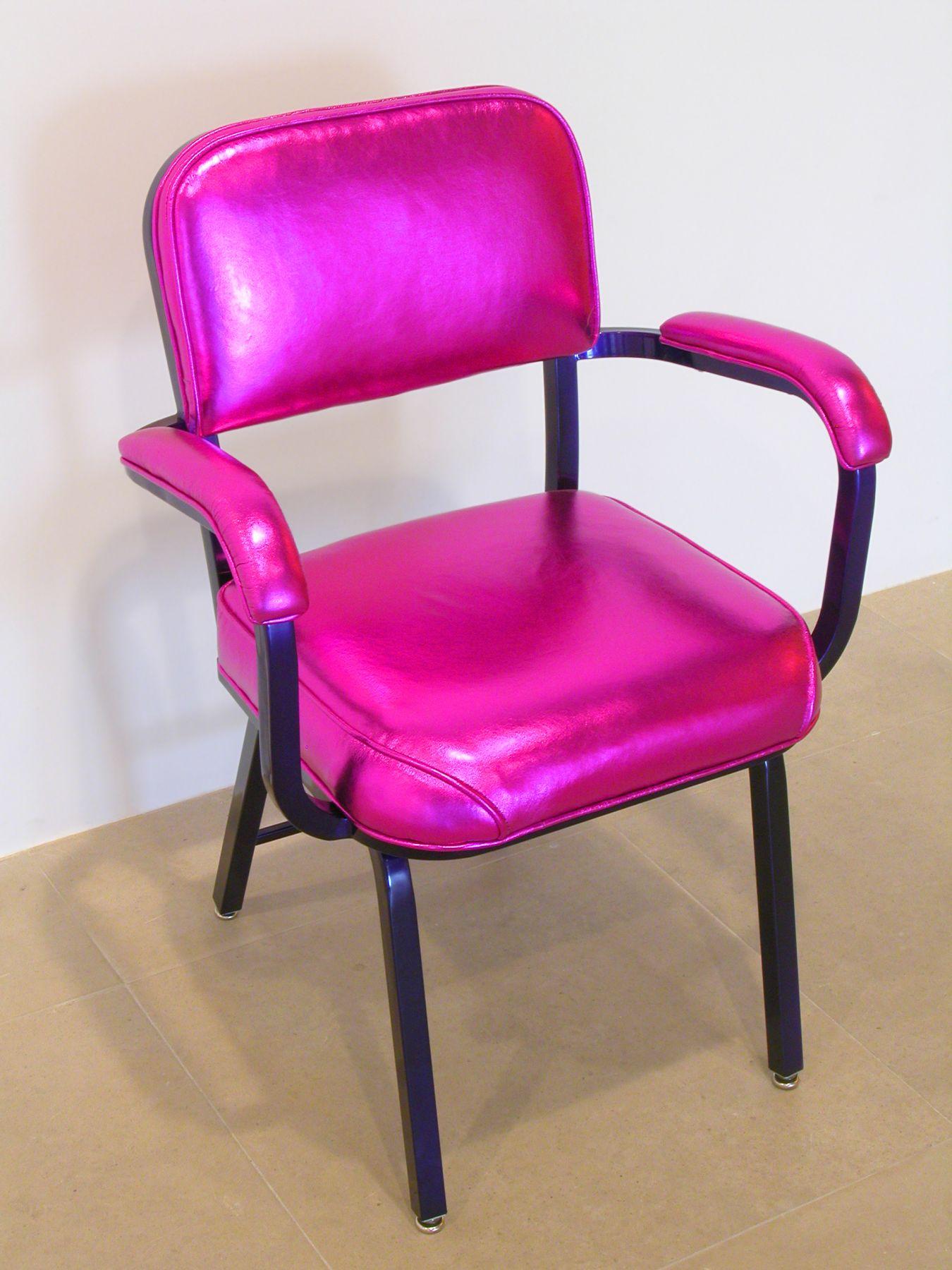 Jim Drain, Fall River Chair, 2007, Grape Candy powder coated square tube steel, metallic fuschia goat skin leather, 34 x 19 x 24 inches