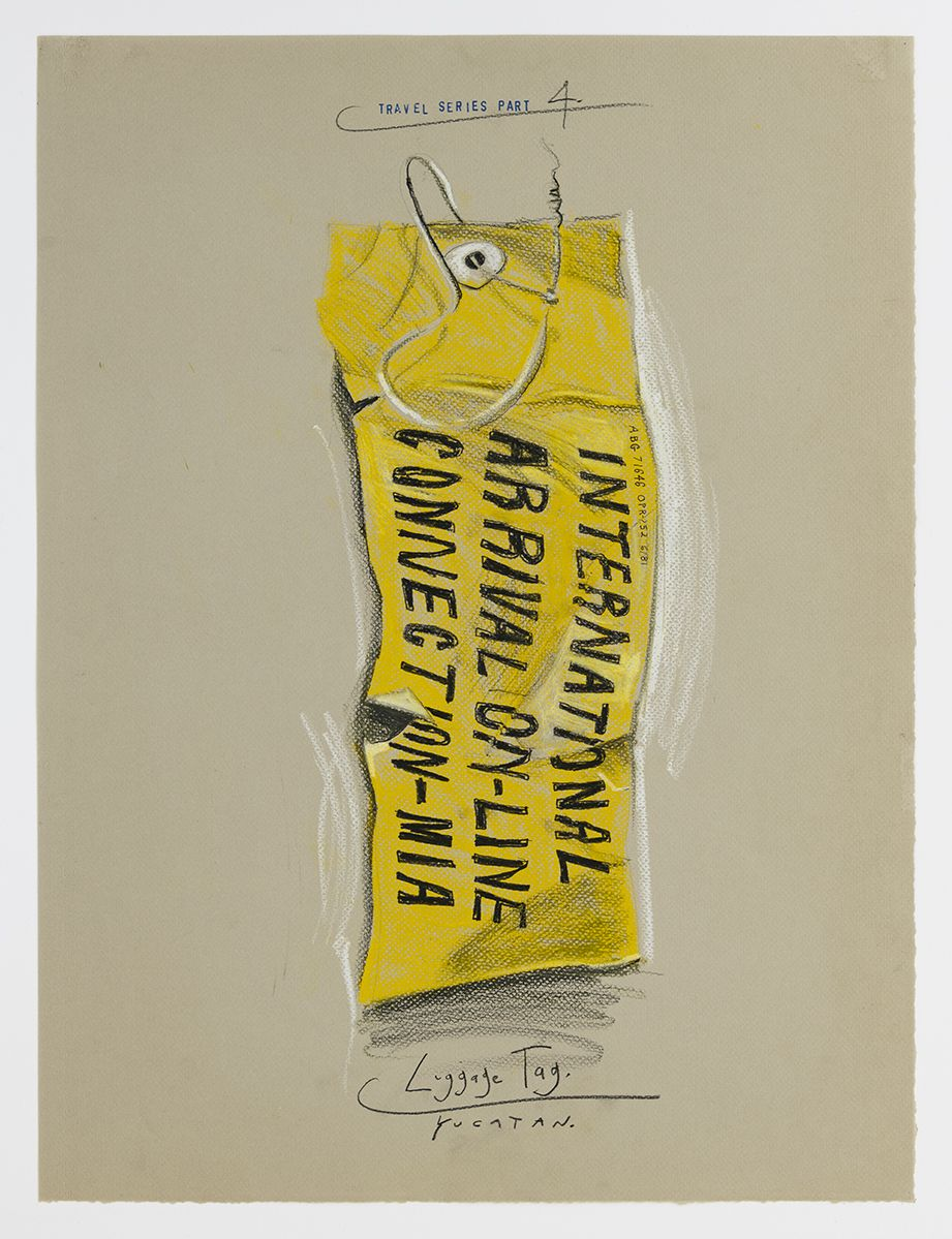 Candy Jernigan, Travel Series – Part 4, Luggage Tags – Yucatan, 1984,  Pastel and rubber stamp on kraft paper,  Image: 24 x 18 inches (61 x 45.7 cm),  Frame: 27 3/4 x 21 3/4 x 1 1/2 inches (70.5 x 55.2 x 3.8 cm)