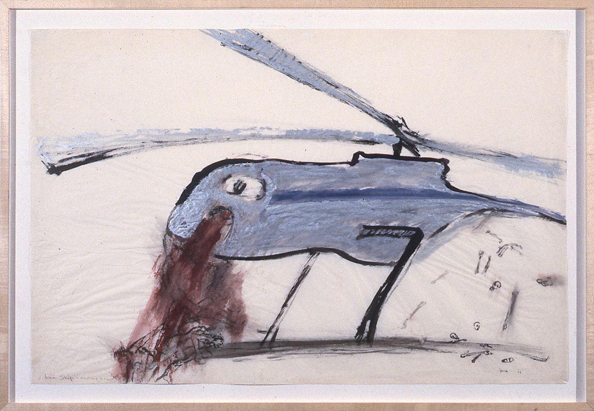 Nancy Spero, Gunship, 1967, gouache on paper, 27 1/2 x 39 1/2 inches