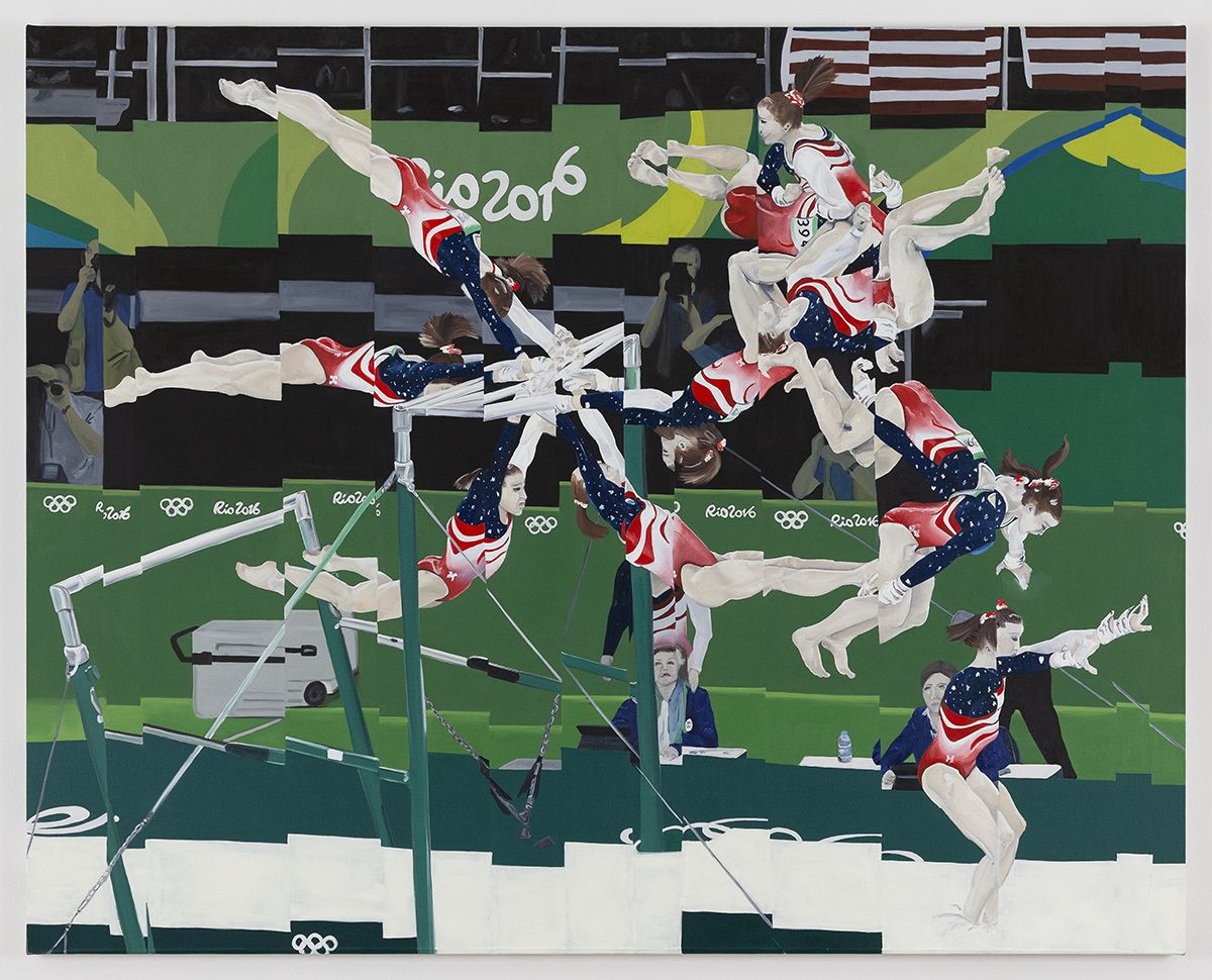 Jeanette Mundt  Born Athlete American: Madison Kocian I, 2018  Oil and glitter on canvas  48 x 60 inches (121.9 x 152.4 cm)