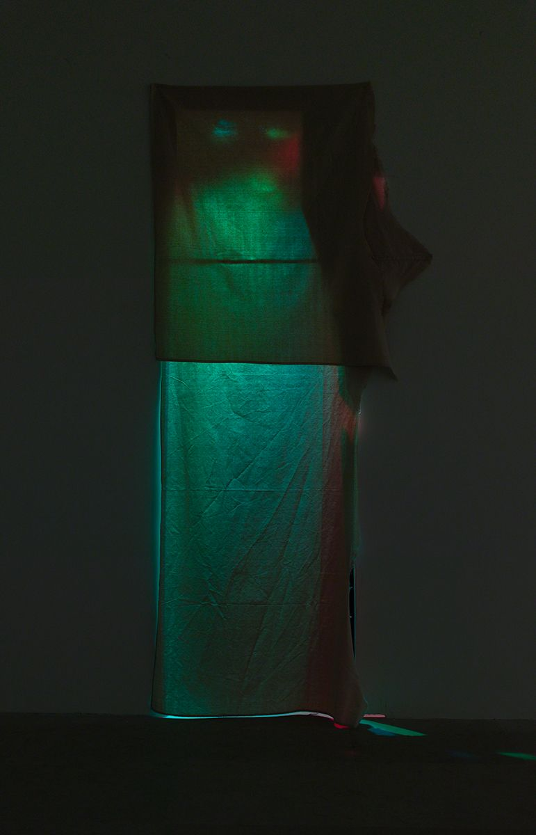 Gedi Sibony, Jeweled Repetitiously, 2013, Canvas, colored lights, little room, Baby Bach pianos, programmed circuit board, wires, batteries, 107 x 52 x 32 inches (271.8 x 132.1 x 81.3 cm)