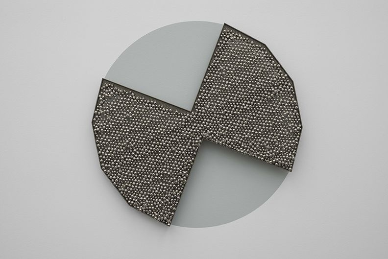 Haegue Yang Sonic Rotating Geometry Type D - Nickel Plated #17, 2013 Steel sheet, powder coating, ball bearings, metal grid, nickel plated bells, metal rings 39 3/8 x 39 3/8 inches (100 x 100 cm)