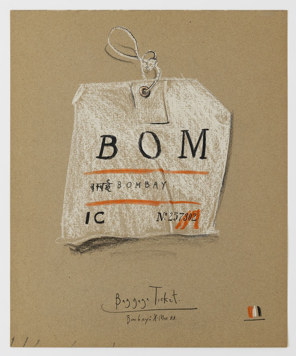 Candy Jernigan, Baggage Ticket – Bombay: Xmas 83, 1983  Pastel and rubber stamp on paper  Image: 17 x 14 inches (43.2 x 35.6 cm)  Frame: 20 1/2 x 17 3/8 x 1 1/2 inches (52.1 x 44.1 x 3.8 cm)
