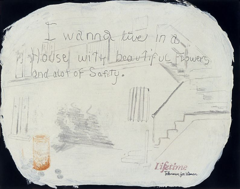 Julie Becker, Untitled (I wanna Live...), 2002, mixed media on paper, 13 3/4 x 10 1/2 inches