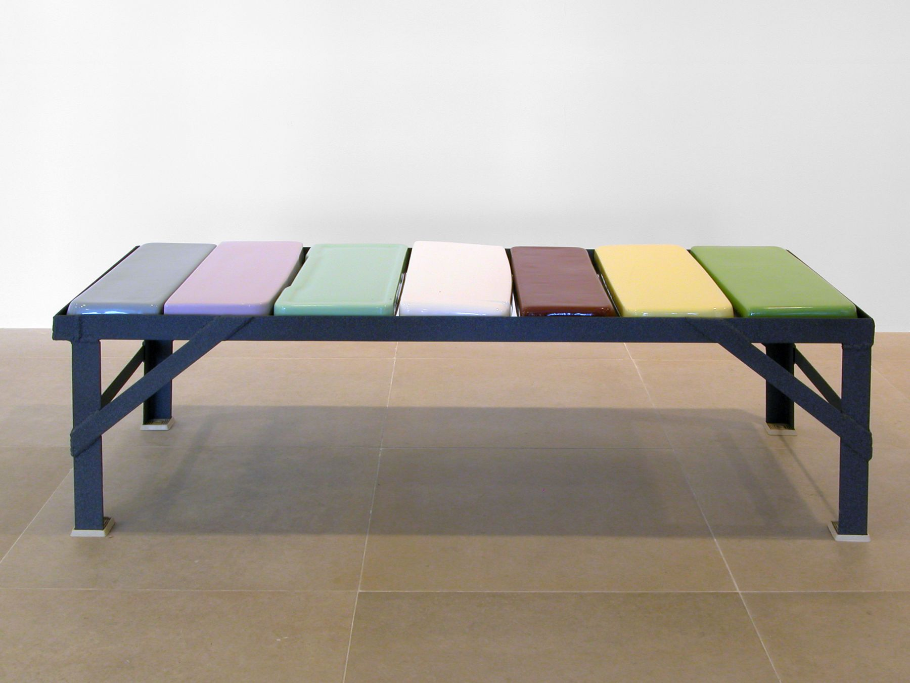 Jim Drain, Toilet Top Bench, 2007, Mixed media, 18 1/2 x 56 1/4 x 22 inches