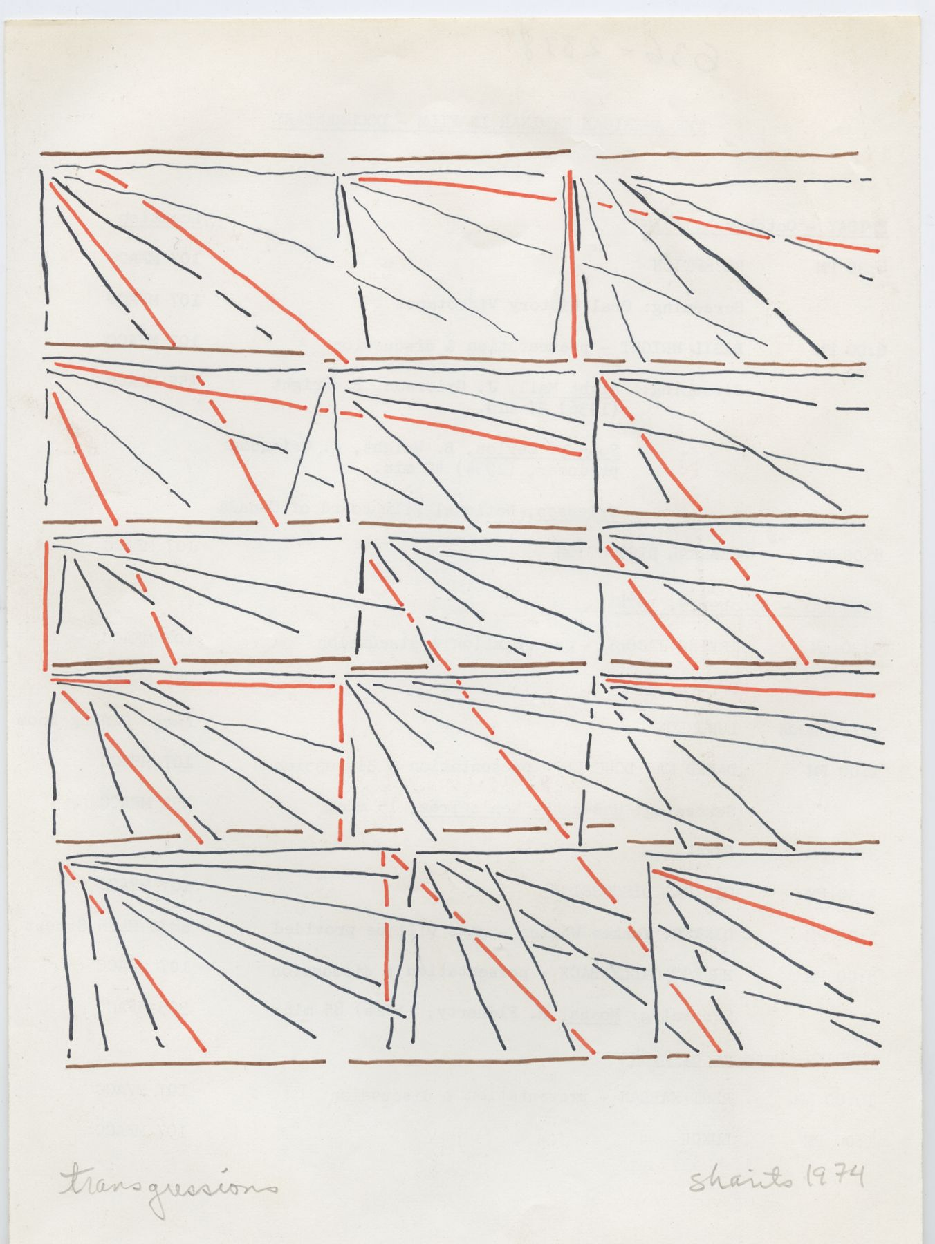 Paul Sharits, Transgressions, 1974, colored feltpen on paper, 10 3/8 x 7 1/2 inches