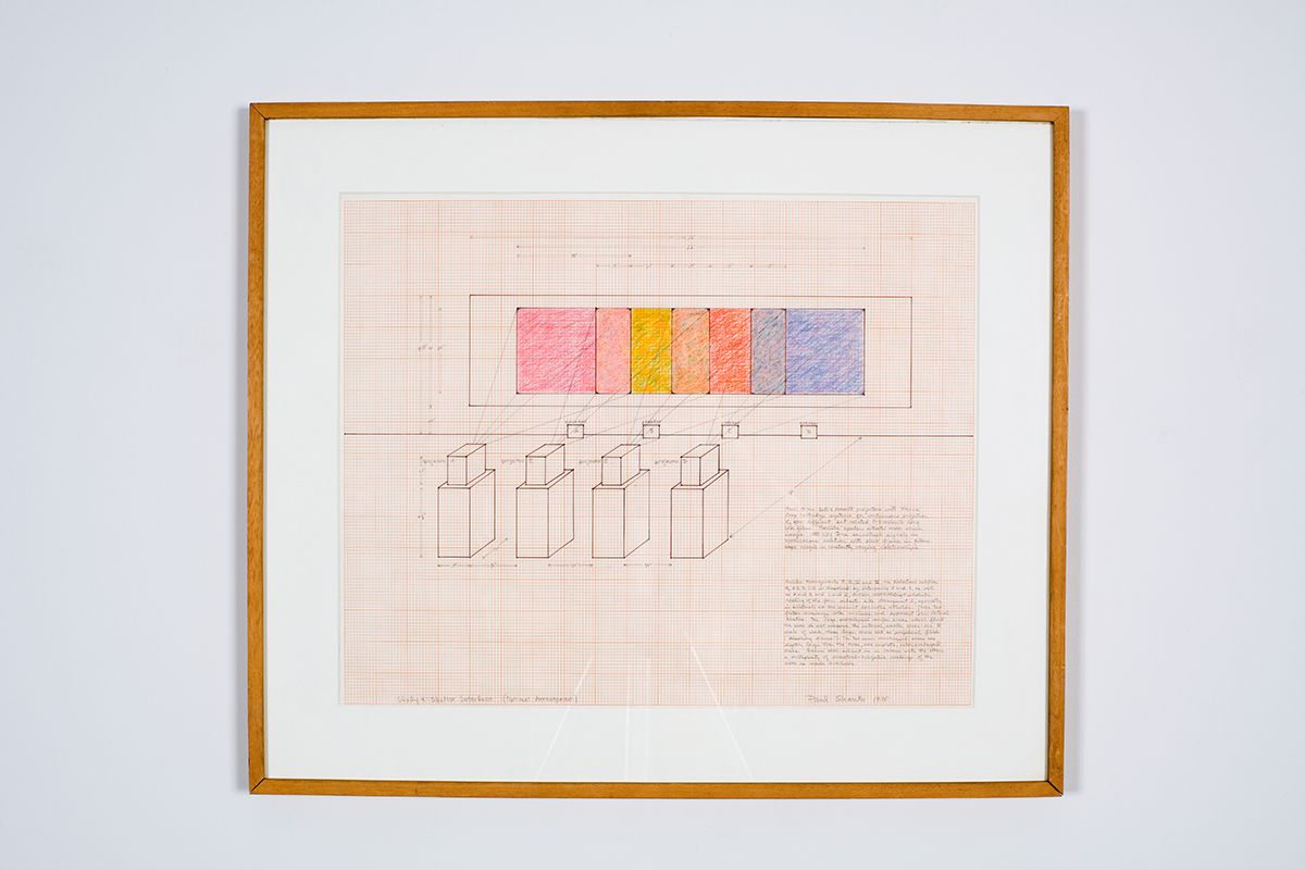 Paul Sharits Study 4: Shutter Interface (optimal arrangement), 1975 Ink and colored pencil on graph paper 18 x 23 inches (45.7 x 58.4 cm)