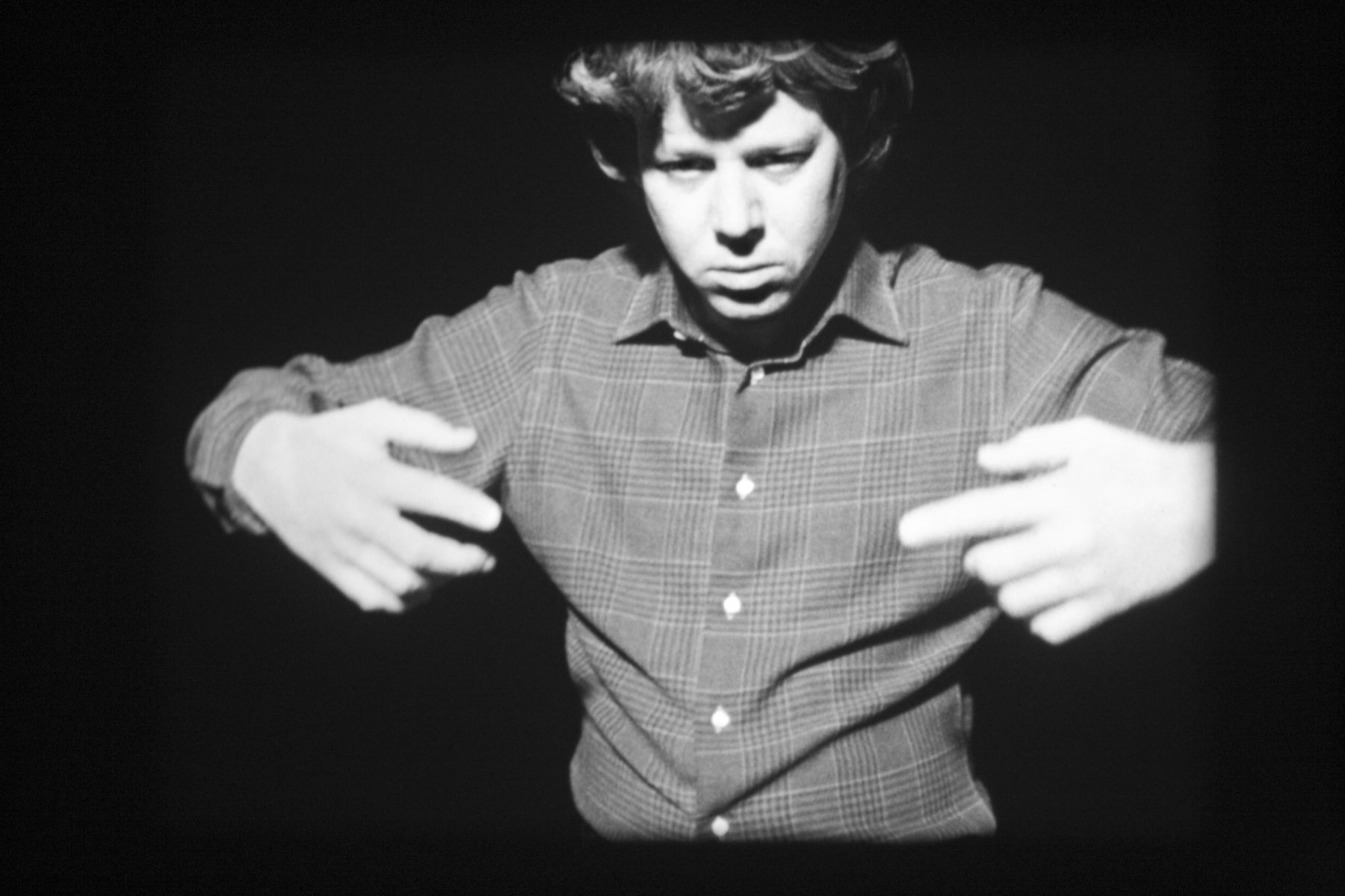 To navigate, in a genuine way, in the unknown necessitates an attitude of daring, but not one of recklessness (movements generated from the Magical Passes of Carlos Castaneda), 2009, 16mm black and white film, 3:30 minutes, continuous loop