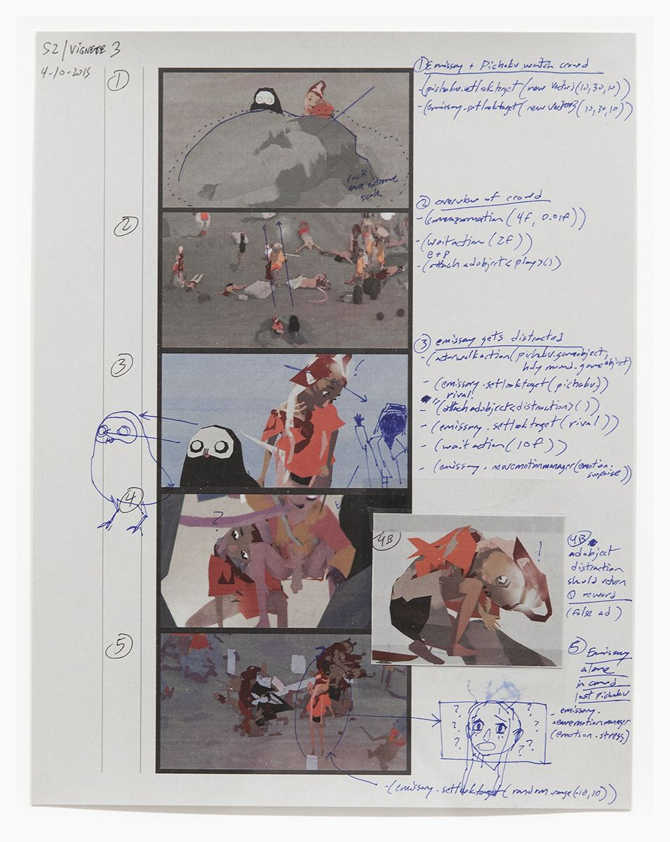 Ian Cheng Emissary In The Squat Of Gods: production storyboard.S2.vignette3, 2015 97lb. grey stock paper, color laser printed storyboard, annotations in ink pen Paper: 8 1/2 x 11 inches (21.6 x 27.9 cm) Frame: 13 3/8 x 10 7/8 inches (34 x 27.6 cm)