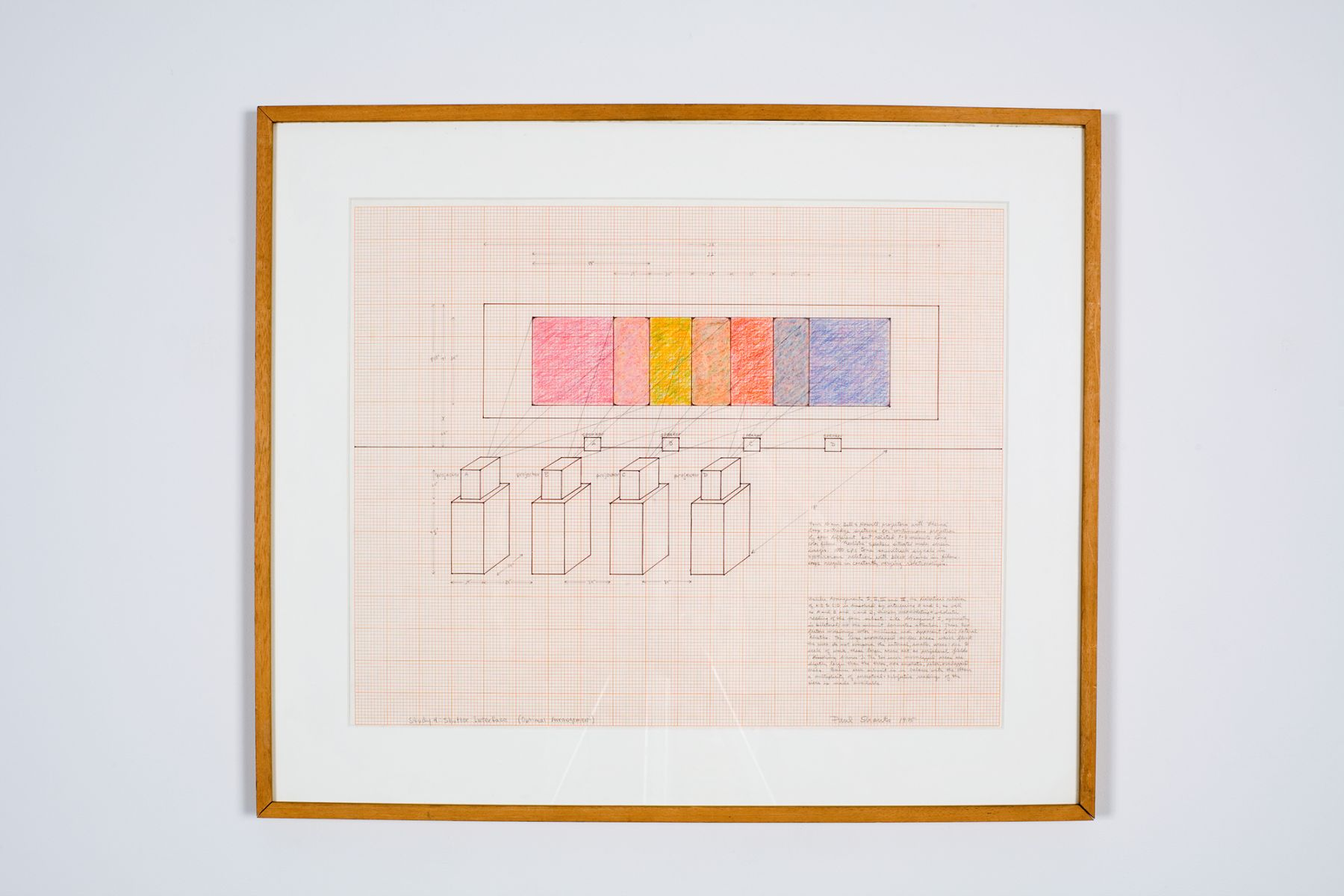 Study 4: Shutter Interface (optimal arrangement), 1975, ink and colored pencil on graph paper, 18 x 23 inches