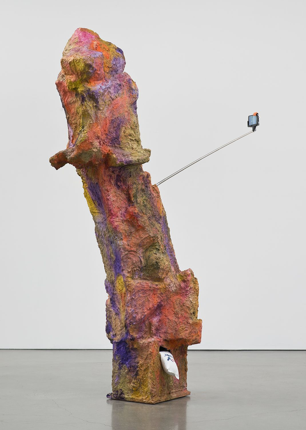 Rachel Harrison Magnum, 2015 Wood, polystyrene, chicken wire, cement, acrylic, Eagle Magnum Lead shot, selfie stick and display phone 85 1/2 x 56 x 22 inches (217.2 x 142.2 x 55.9 cm)