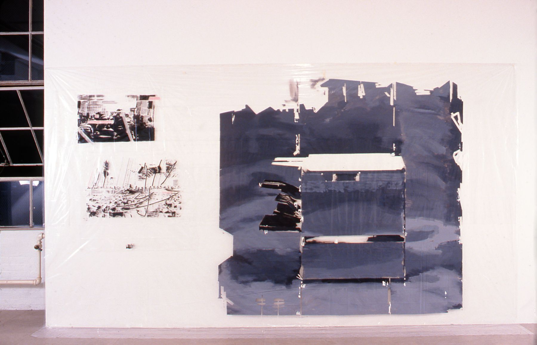 Dierk Schmidt,  Two Papers for Copy Machine, 1999, Oil and acrylic on plastic, 106 x 168 inches