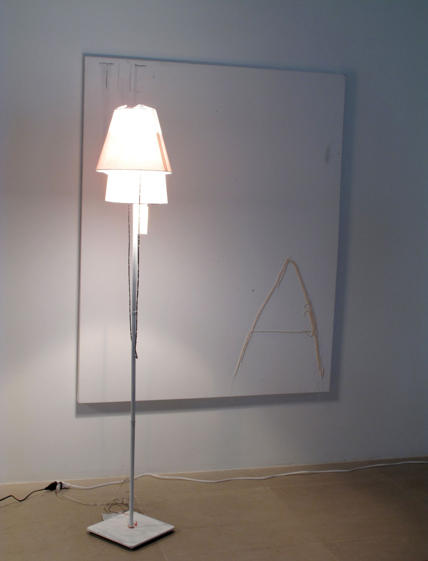 The Assistant, 2008, ink, pencil, pearls, and adhesive on canvas, mixed media lamp, overall dimensions variable, canvas: 60 x 48 inches