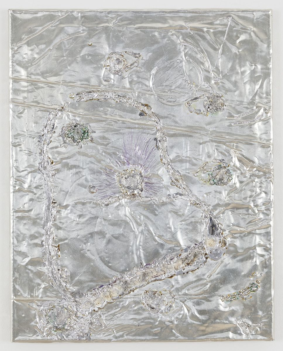 Josef Strau  Possession, 2018  Tin plate, tin wire, acrylic, ballpoint pen on canvas  20 1/4 x 16 x 1 inches (51.4 x 40.6 x 2.5 cm)