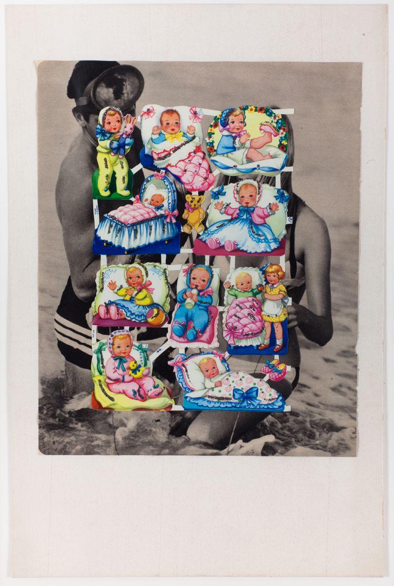 Konrad Lueg Untitled (Glanzbilder auf Taucher), Unknown  Collage and glitter on card Paper: 17 3/4 x 11 5/8 inches (45 x 29.5 cm) Framed: 20 1/8 x 14 1/8 inches (51.2 x 36 cm)
