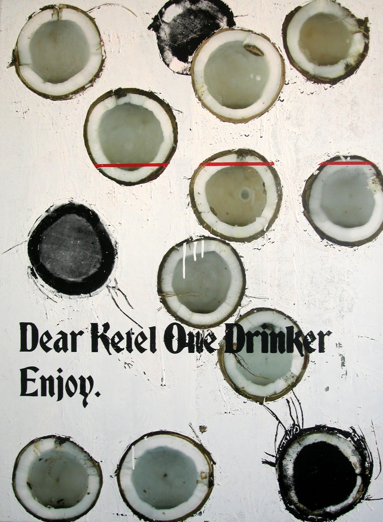 Untitled (Coconut Ketel One), 2005,  silkscreen and inkjet on canvas,  48 x 36 inches