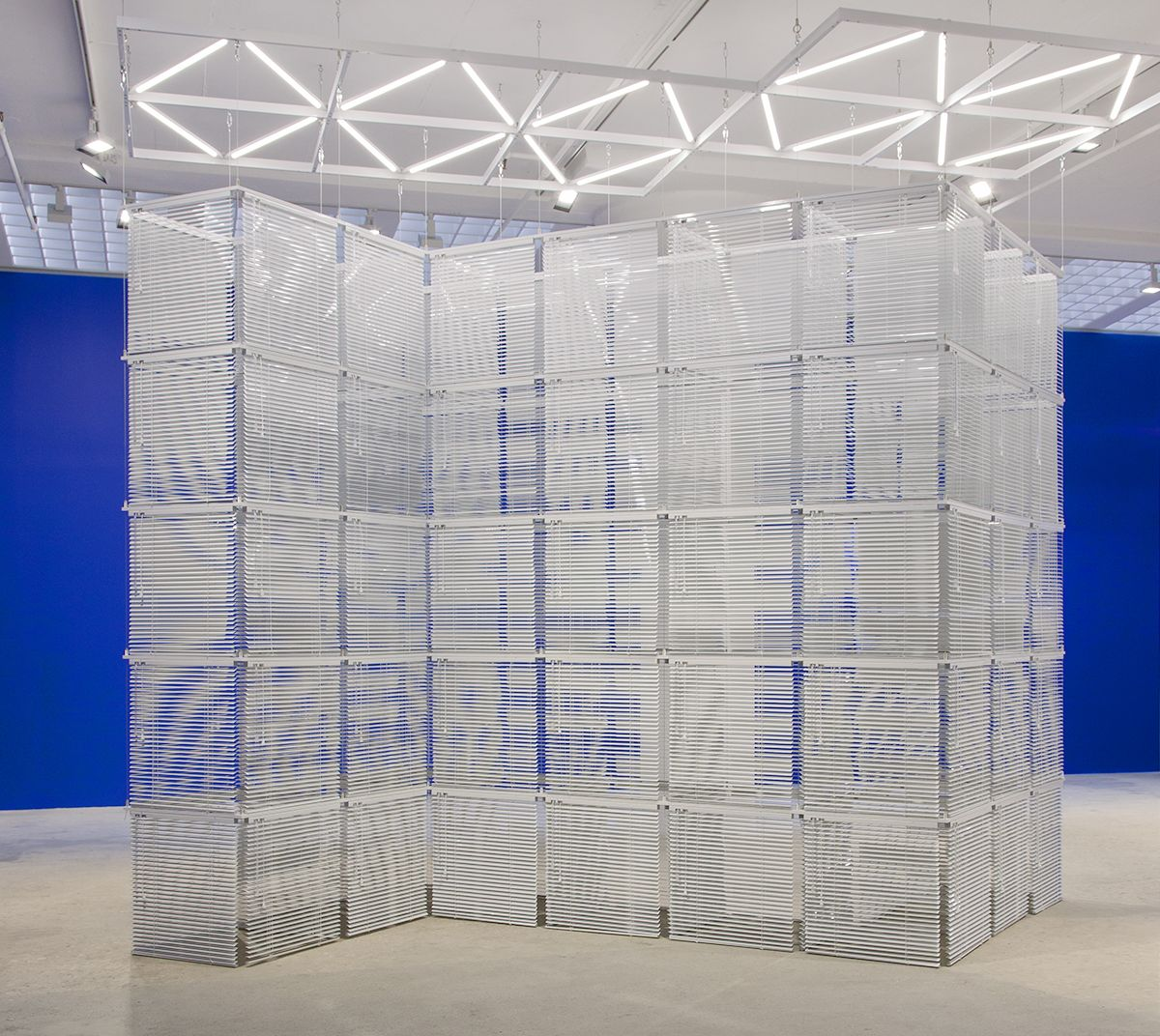 Haegue Yang, Sol LeWitt Upside Down –Cube Structure Based on Five Modules, Expanded 184 Times#73-A, 2016