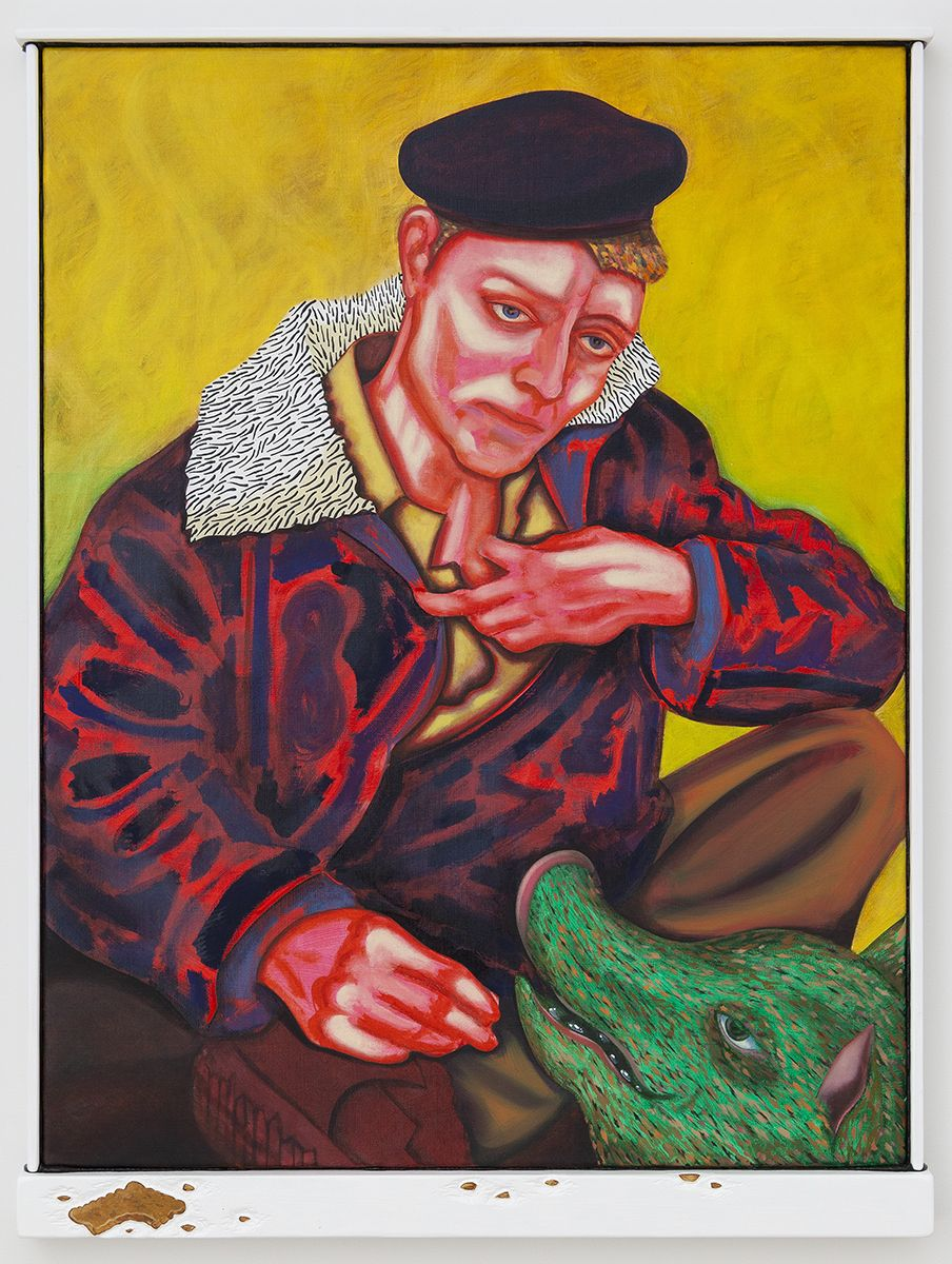 Magnus Anderson Billy (Der Sympathischer Leibniz Keks), 2018 Oil on canvas, artist frame/acrylic on lime wood 37 3/4 x 29 1/2 x 2 inches (96 x 75 x 5 cm)