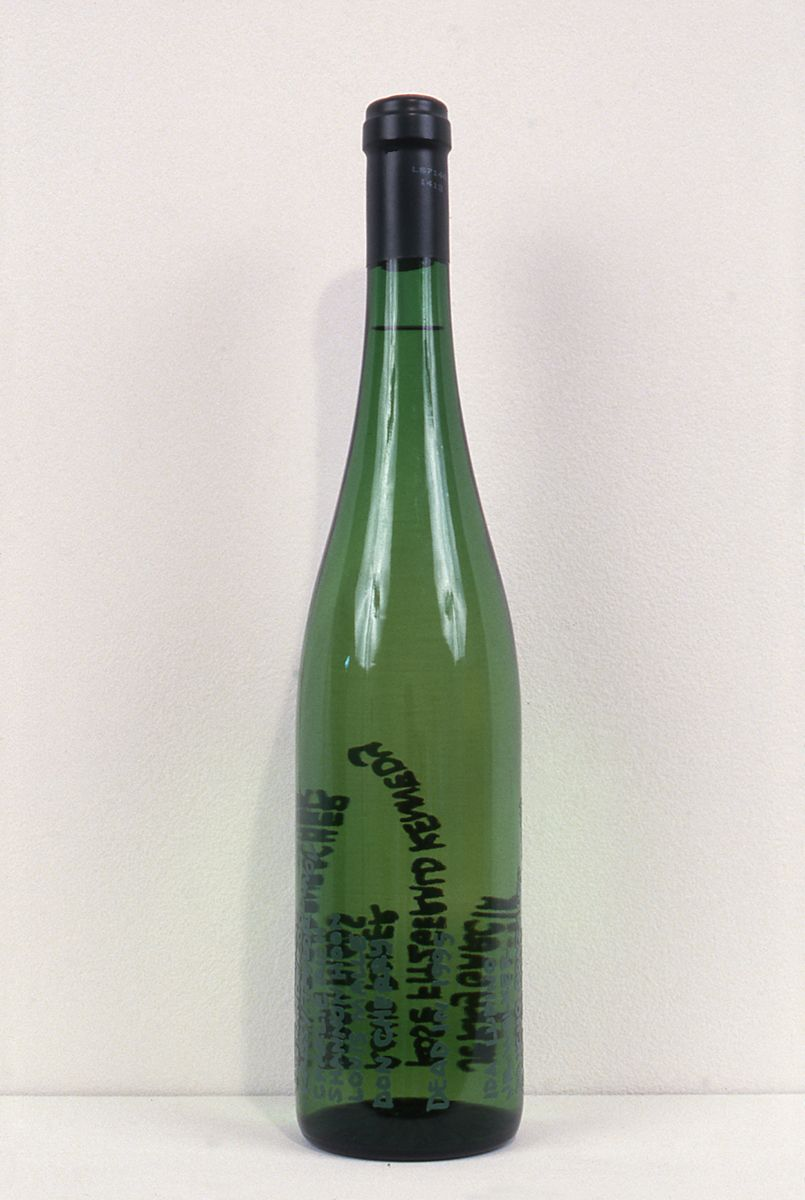 Rob Pruitt, Dead in 1995, 1998, 750 ml bottle Vino Verde, laser cut vinyl