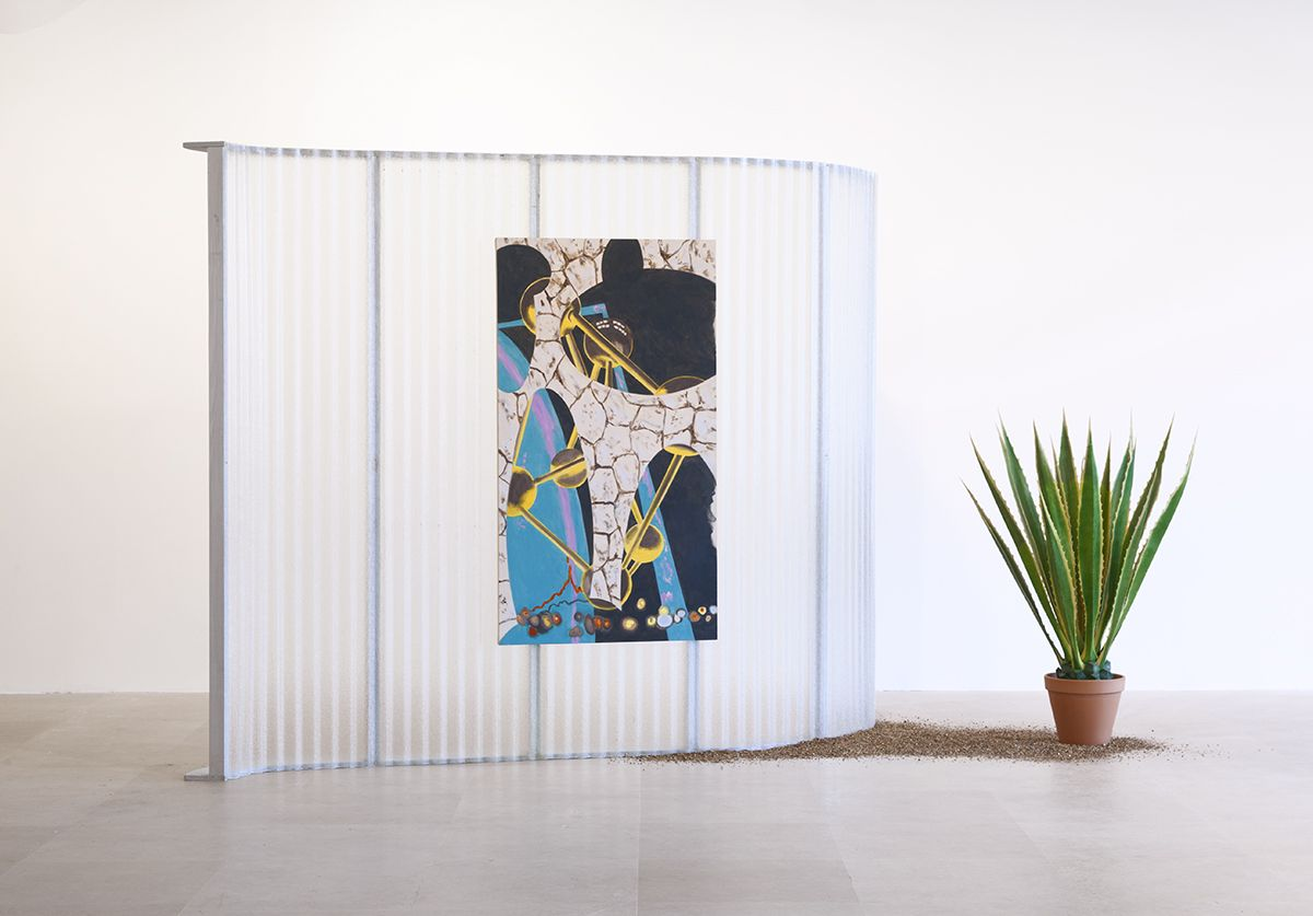 Body Space, 2012, Acrylic on canvas, fiberglass, wood, artificial plant, and vermiculite