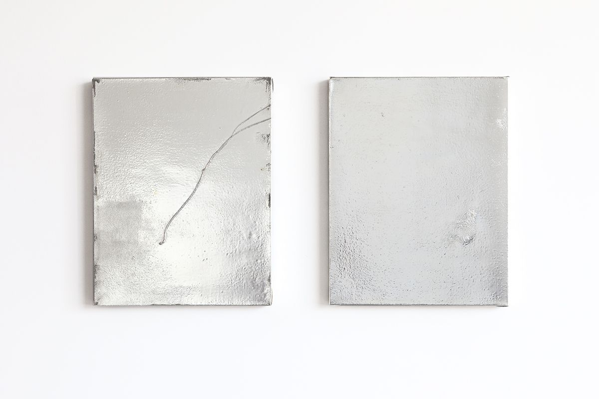 Mathieu Malouf  Untitled, 2013  Gesso, human hairs, and electro silver plating process on linen  18 1/4 x 14 inches (46.4 x 35.6 cm) each