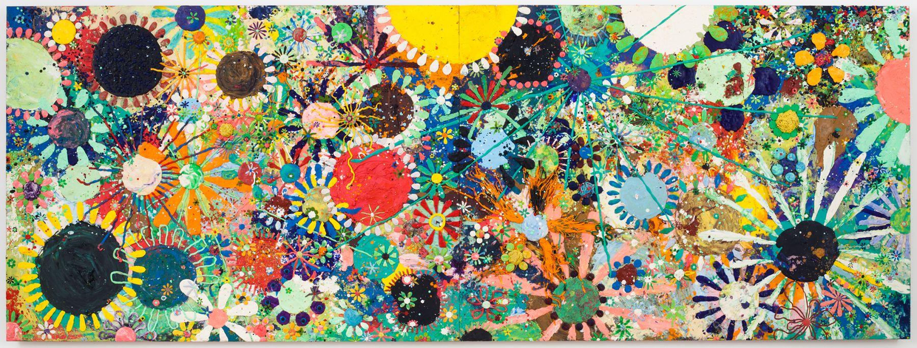 Gelitin, Untitled, 2011, Plasticine on wood panel, 40 5/8 x 109 1/2 x 4 1/4 inches