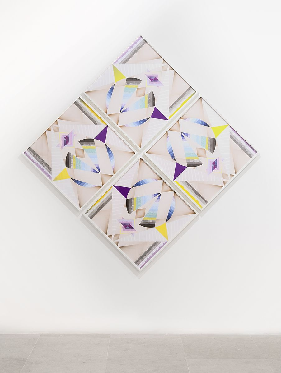 Haegue Yang Windmill - Trustworthy Triple Wings 2015 Various envelope security patterns, graph paper, origami paper, framed 28 3/8 x 28 3/8 inches (72.2 x 72.2 cm) each