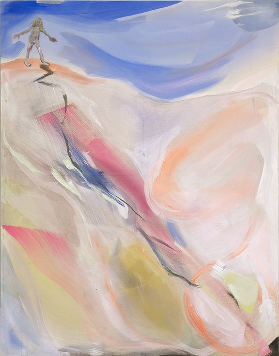 Sophie von Hellermann, Standing at the top of a slippery slope, 2013, Pigment and acrylic emulsion on canvas, 90 1/2 x 71 inches
