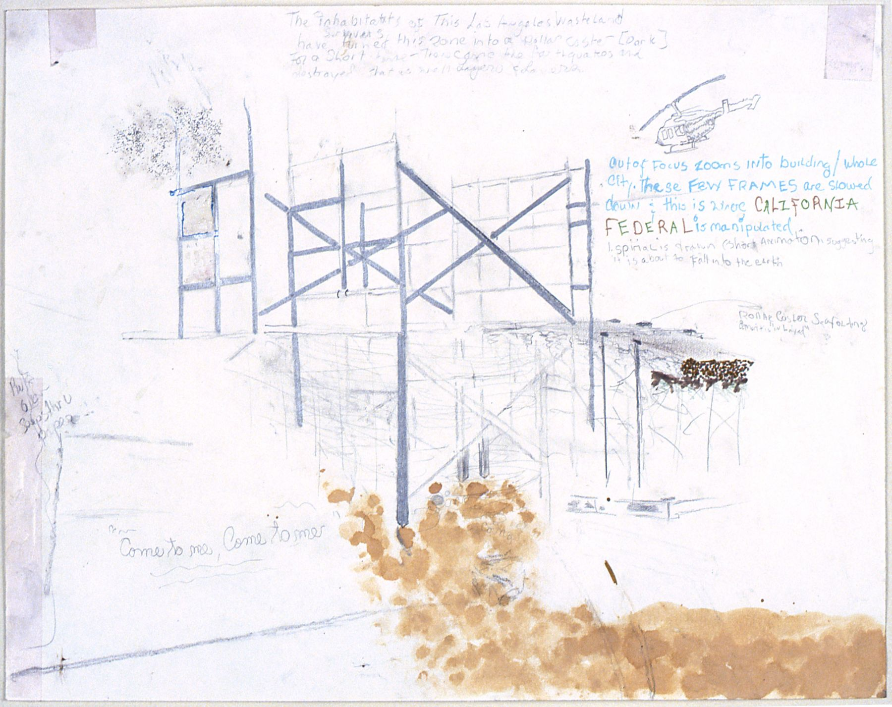 Julie Becker, Untitled (Roller Coaster Scaffolding), 2000, Mixed media on paper, 11 x 14 inches