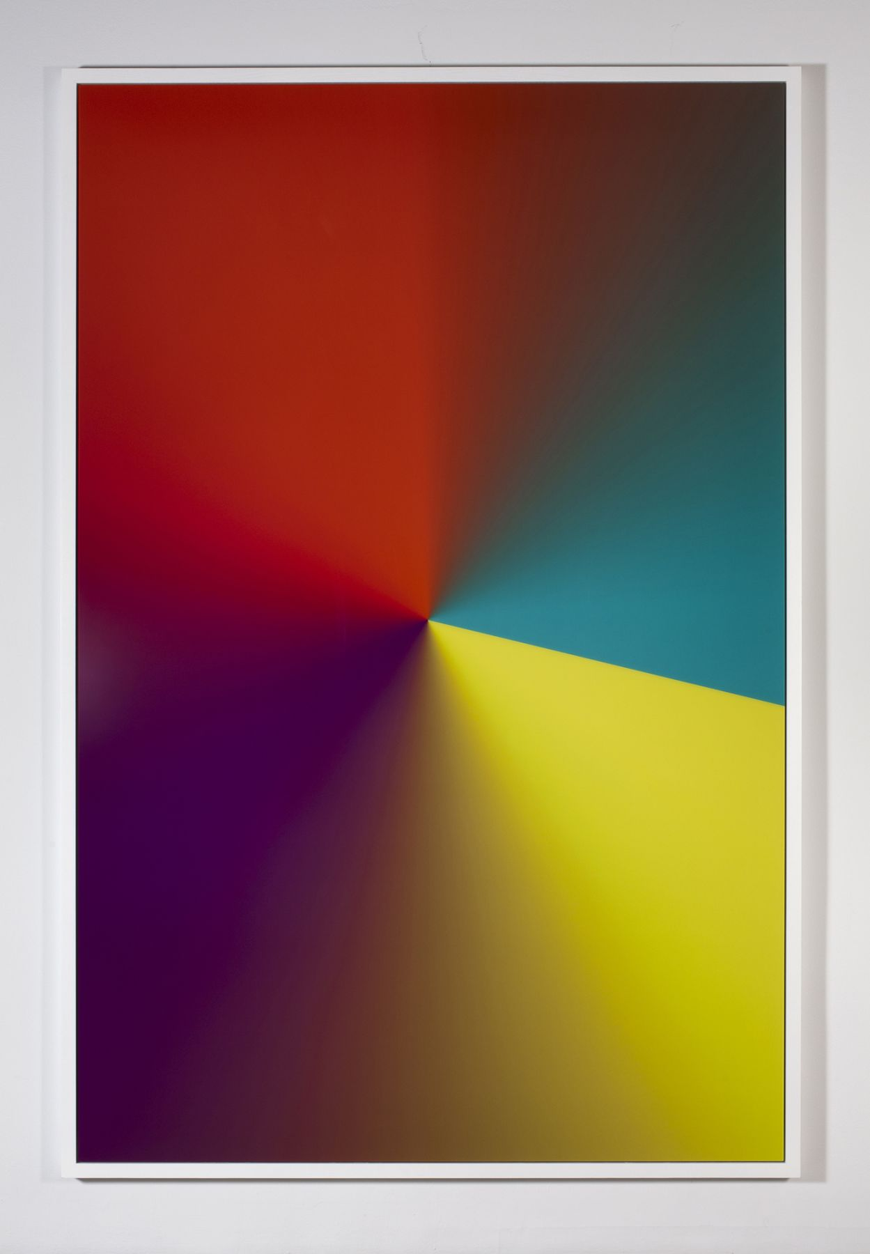 """Cory Arcangel Photoshop CS: 110 by 72 inches, 300 DPI, RGB, square pixels, default gradient """"Yellow, Violet, Red, Teal"""", mousedown y=16450 x=10750, mouseup y=18850 x=20600, 2009"""