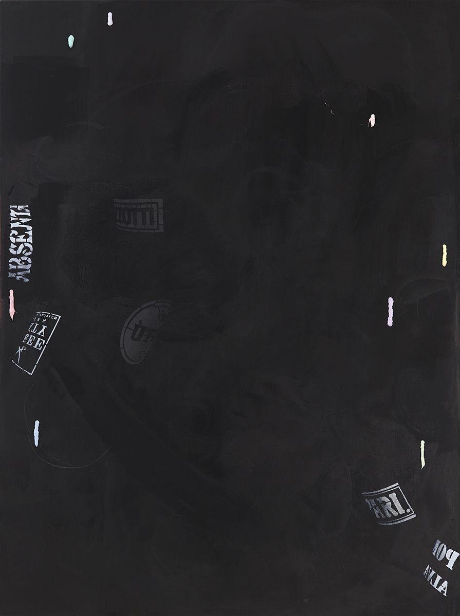 Monika Baer on hold (1), 2015 Acrylic, ink, oil on canvas 70 3/4 x 53 1/4 inches (180 x 135 cm)