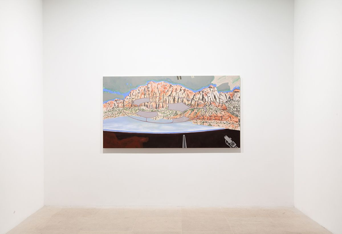 William Leavitt, Motel Zion Earth, 2013, Flashe on canvas with soundtrack, 44 x 84 inches
