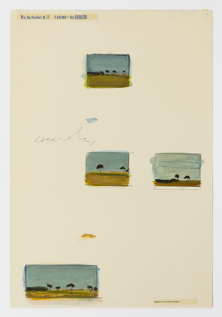 Candy Jernigan, Italian Landscape Series, Escarole, 1989,  Acrylic and collage on paper,  Image: 22 x 15 inches (55.9 x 38.1 cm),  Frame: 26 1/4 x 19 1/4 x 1 1/2 inches (66.7 x 48.9 x 3.8 cm)