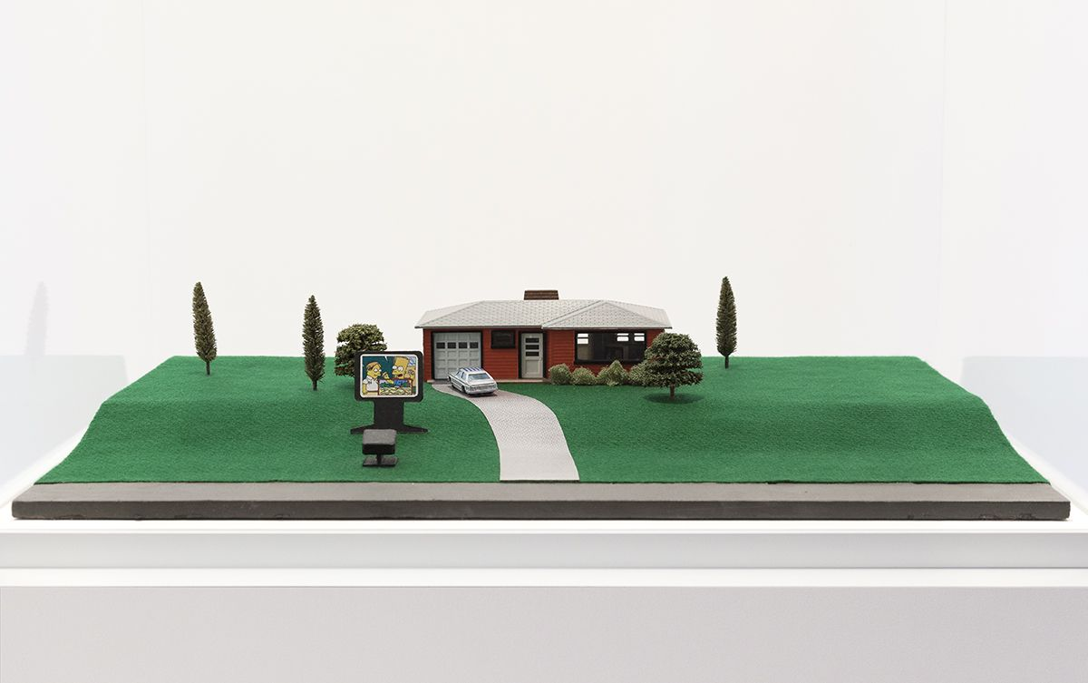 Dan Graham Video Projection Outside Home, 1978 - 1998 Architectural model, painted wood and plastic 9 x 20 x 30 3/8 inches (22.9 x 50.8 x 77.2 cm)