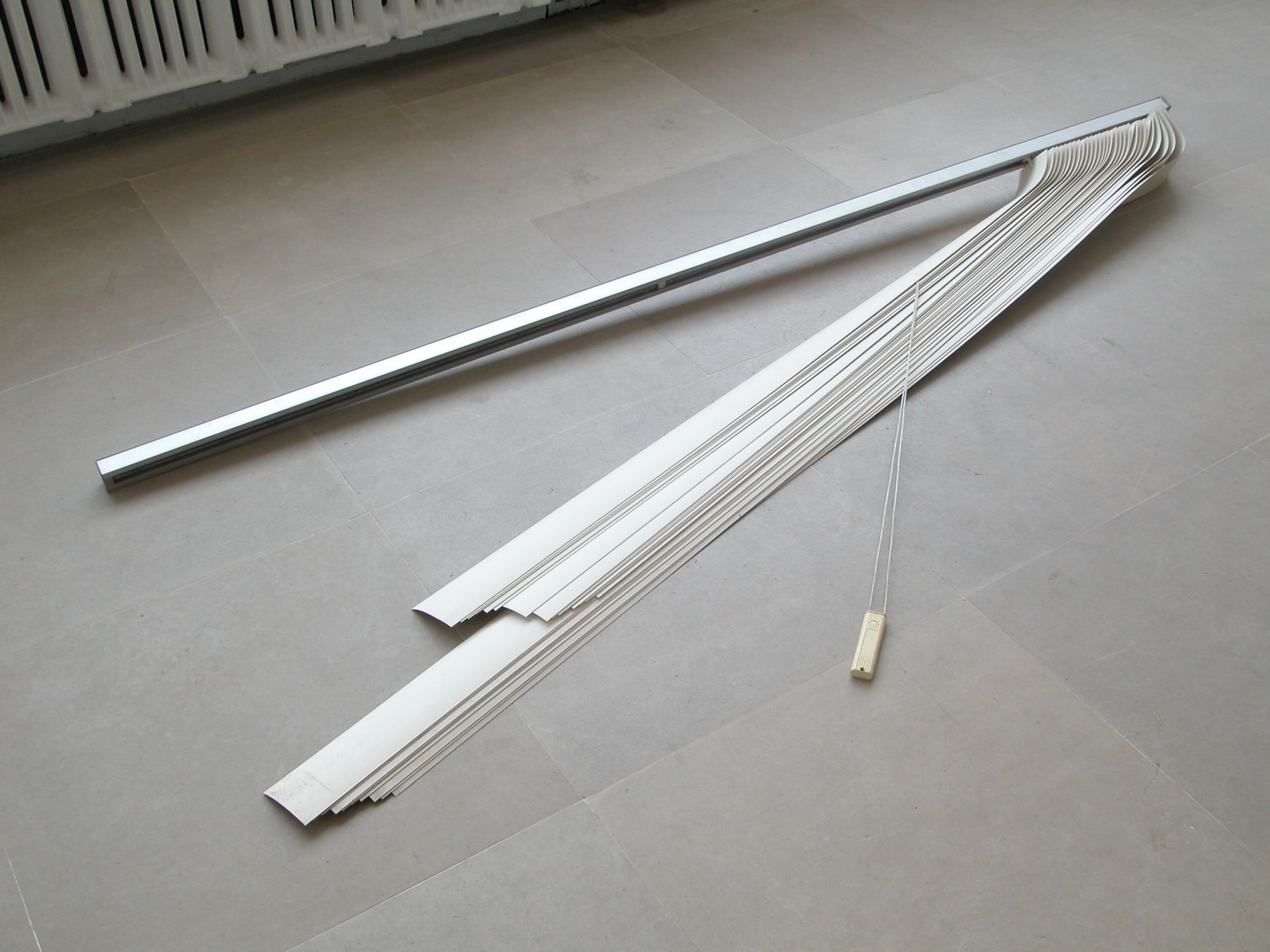 The Middle of the World, 2008, Vertical blinds, 36 x 89.5 x 5 inches