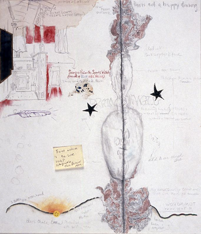 Julie Becker, Untitled, 1999 ink, pencil and mixed media on paper, 16 1/4 x 14 inches