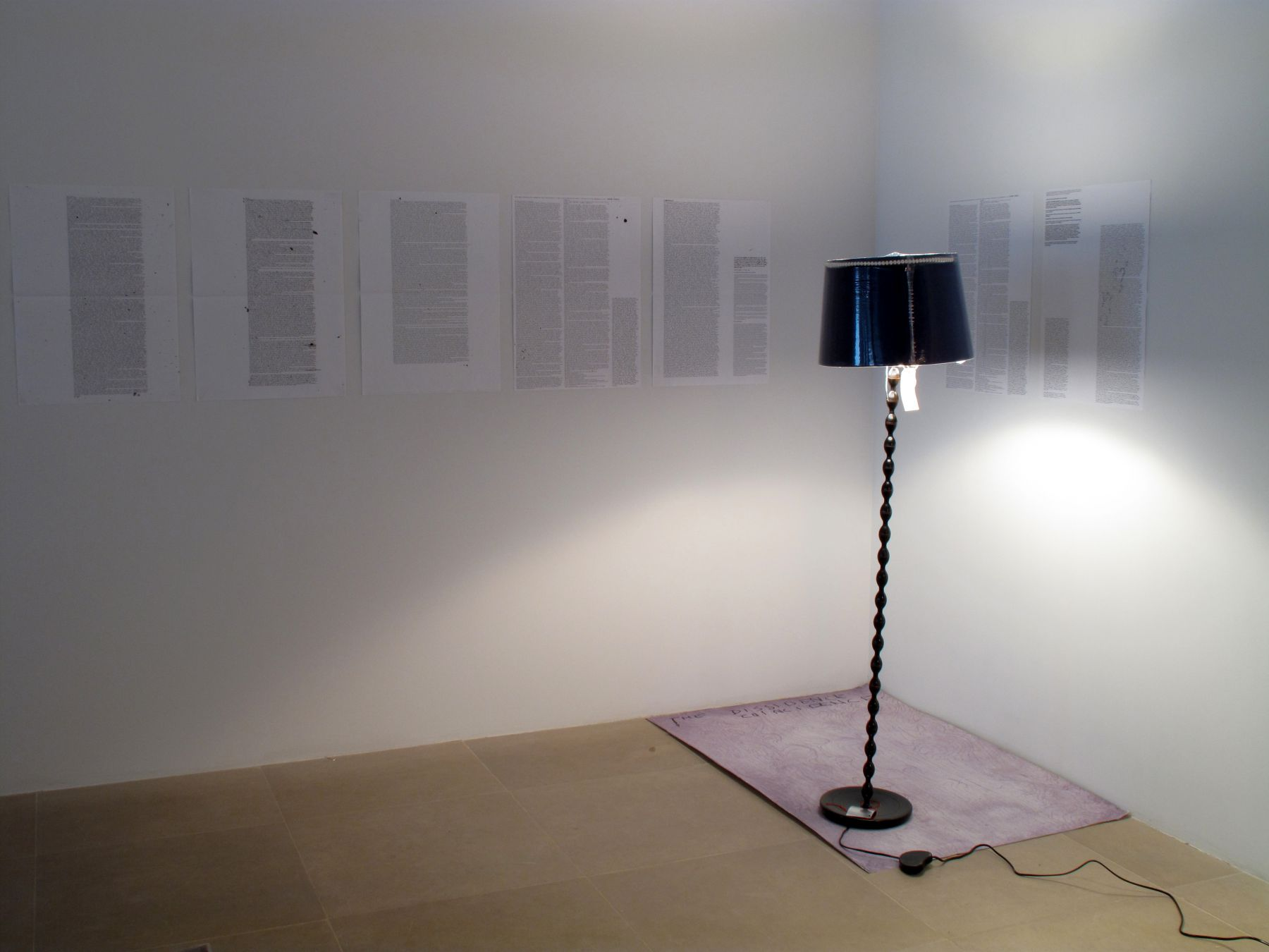 Josef Strau  The Dissidence Coincidence, 2008  Mixed media lamp with inkjet poster  Overall dimensions variable