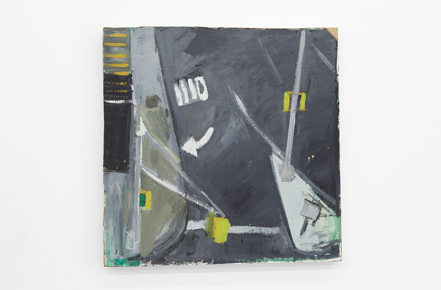 Mary Ann Aitken Untitled (Gratiot and Broadway), circa 1985-89, Oil on masonite, 24 x 24 inches (61 x 61 cm)