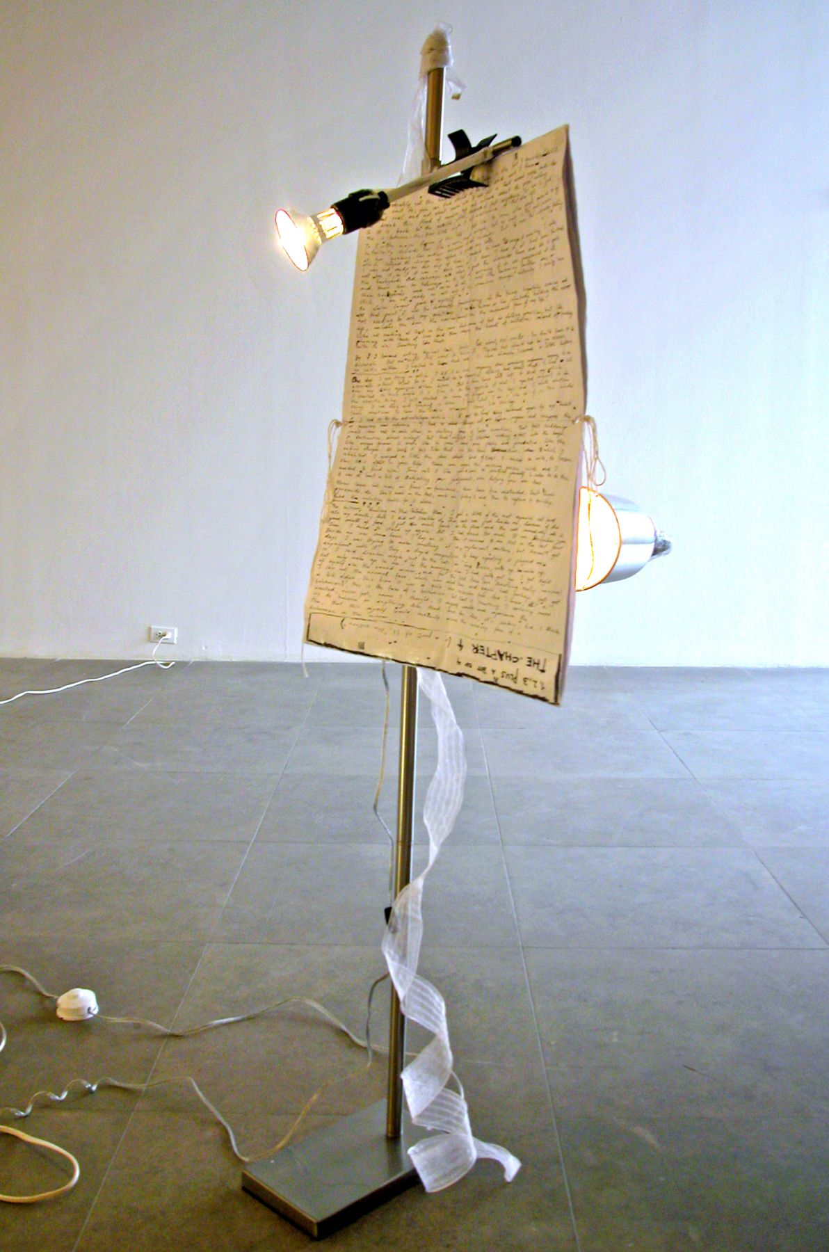 Blueprint for Chapter 4 Lamp, 2006, mixed media lamp, 60 x 18 x 24 inches (152.4 x 45.7 x 61 cm)