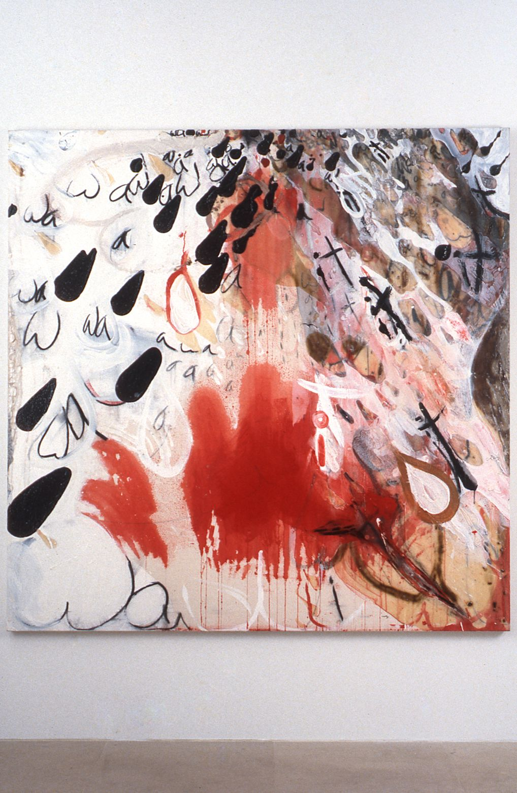 Suzanne McClelland, wait, 1991, acrylic, clay, charcoal, gesso on canvas, 72 x 72 inches