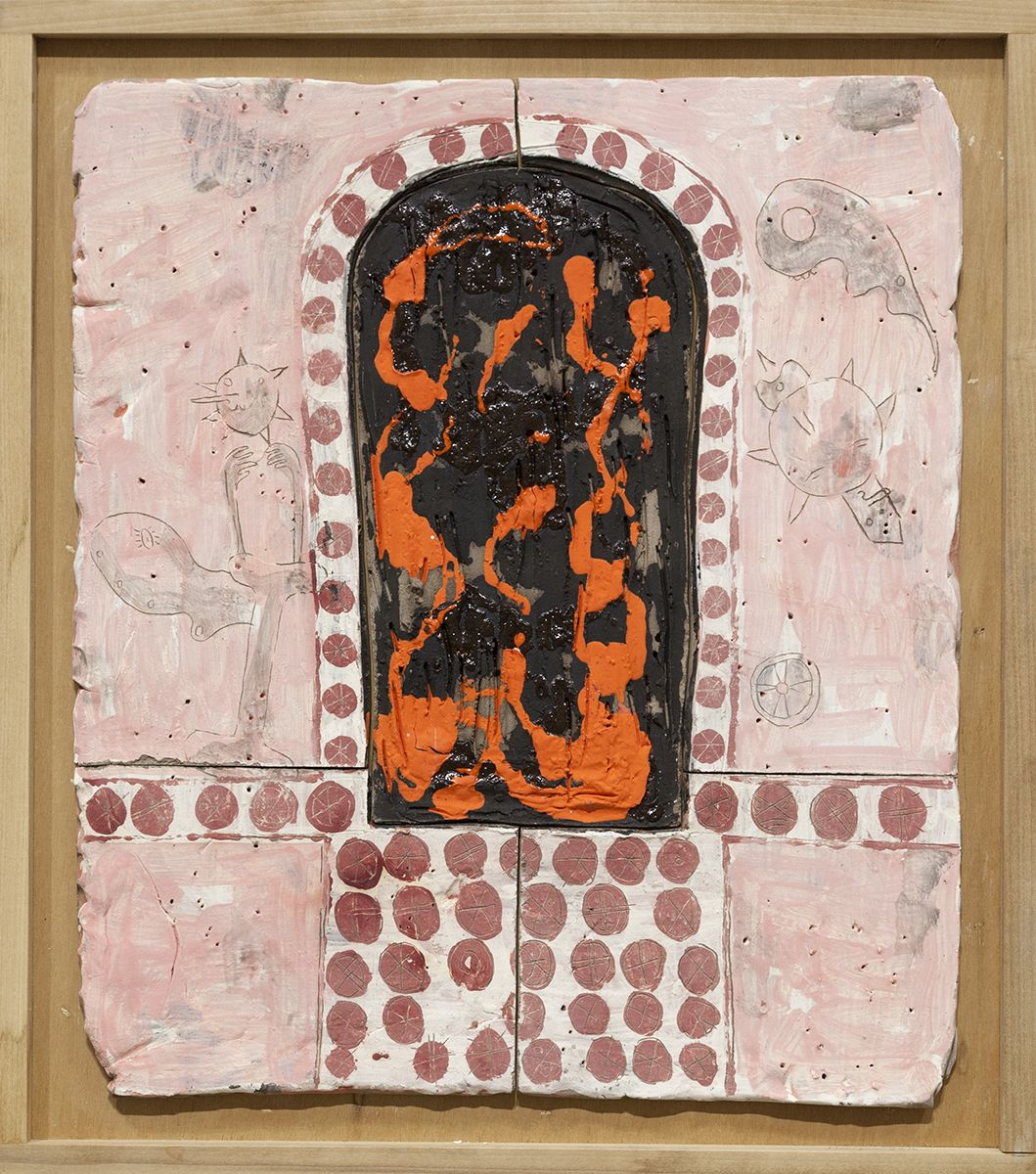 Richard Hawkins  Norogachian Consecration of Shit and Peyote, 2016  Glazed ceramic in artist's frame   25 3/4 x 22 3/4 x 1 5/8 inches (65.4 x 57.8 x 4.1 cm)