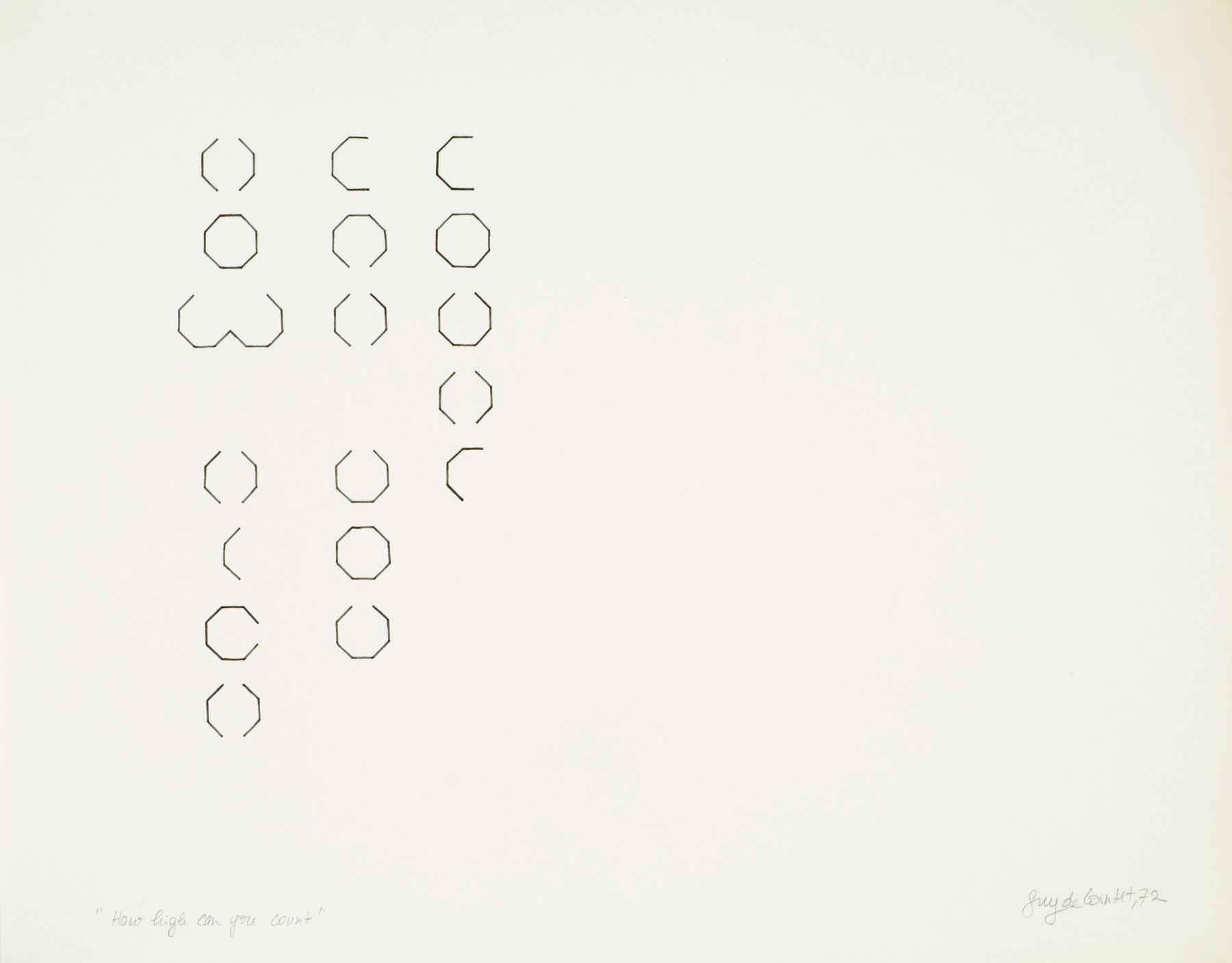 How high can you count?, 1972, Ink and pencil on paper