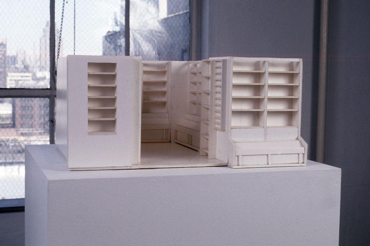 Liesbeth Bik & Jos van der Pol, The Bookshop Piece, 1996, architectural model, 9 1/2 x 21 1/4 x 20 1/2 inches