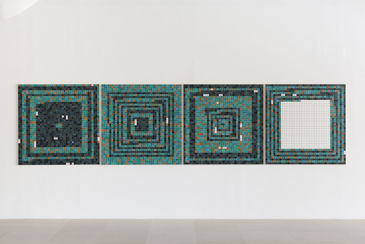Allen Ruppersberg  Three San Francisco Poets (Bill Berkson), 2017  Cut color copies on pegboard, pH neutral adhesive, wood backing, UV gloss medium coating  4 Panels: 48 x 48 x 1 inches (121.9 x 121.9 x 2.5 cm) each