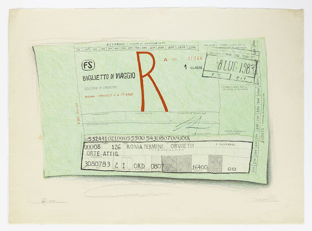 Candy Jernigan, To Orvietto and Back, 1984,  Pastel and rubber stamp on paper,  Image: 19 1/4 x 26 1/4 inches (48.9 x 66.7 cm),  Frame: 23 3/8 x 30 5/8 x 1 1/2 inches (59.4 x 77.8 x 3.8 cm)