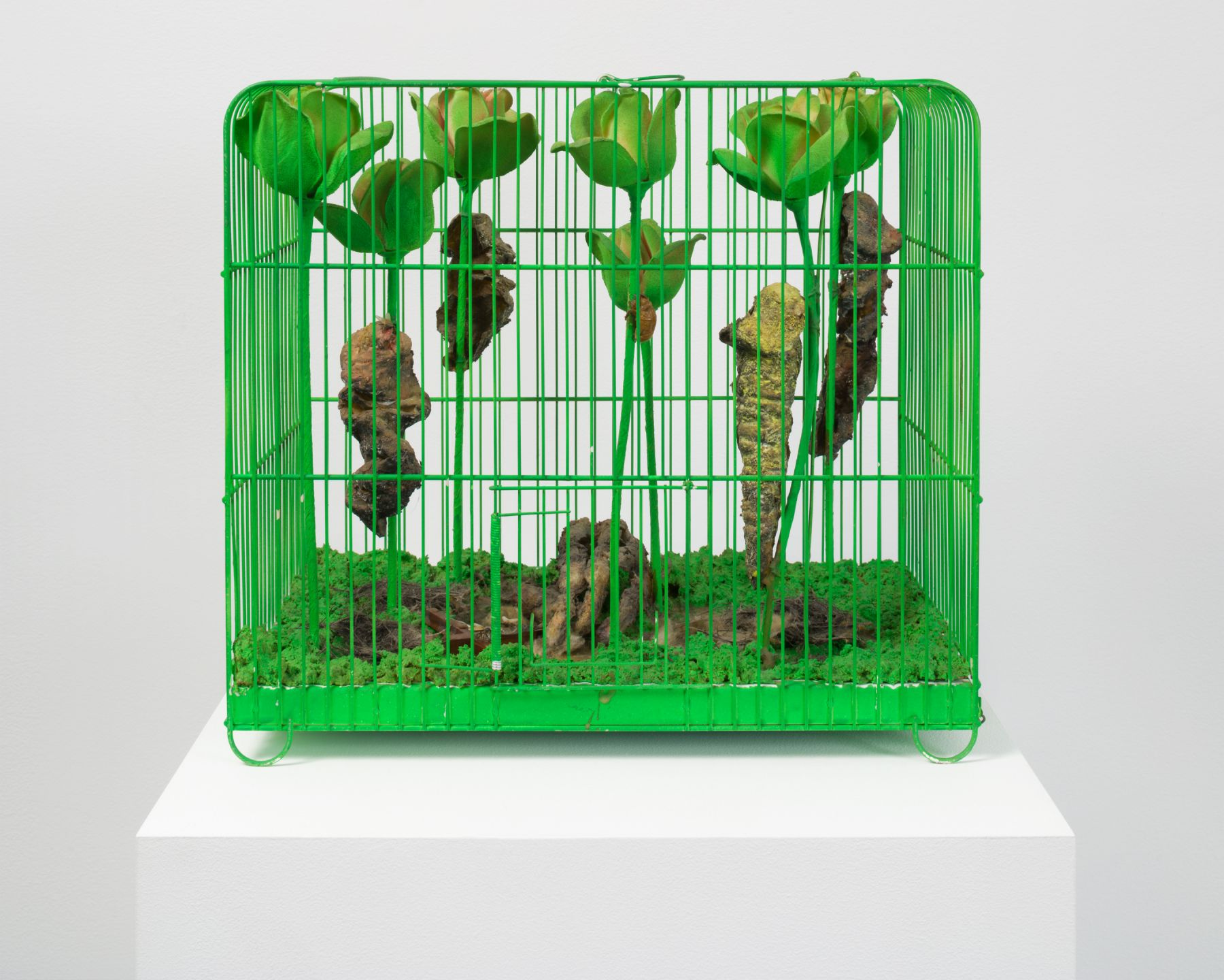 Tetsumi Kudo, Souvenir-La Mue (Memory-Pupal Skin), 1967, Acrylic on plastic flowers and mixed media in painted cage 13 3/4 x 15 1/3 x 9 7/8 inches (34.9 x 38.9 x 25.1 cm)