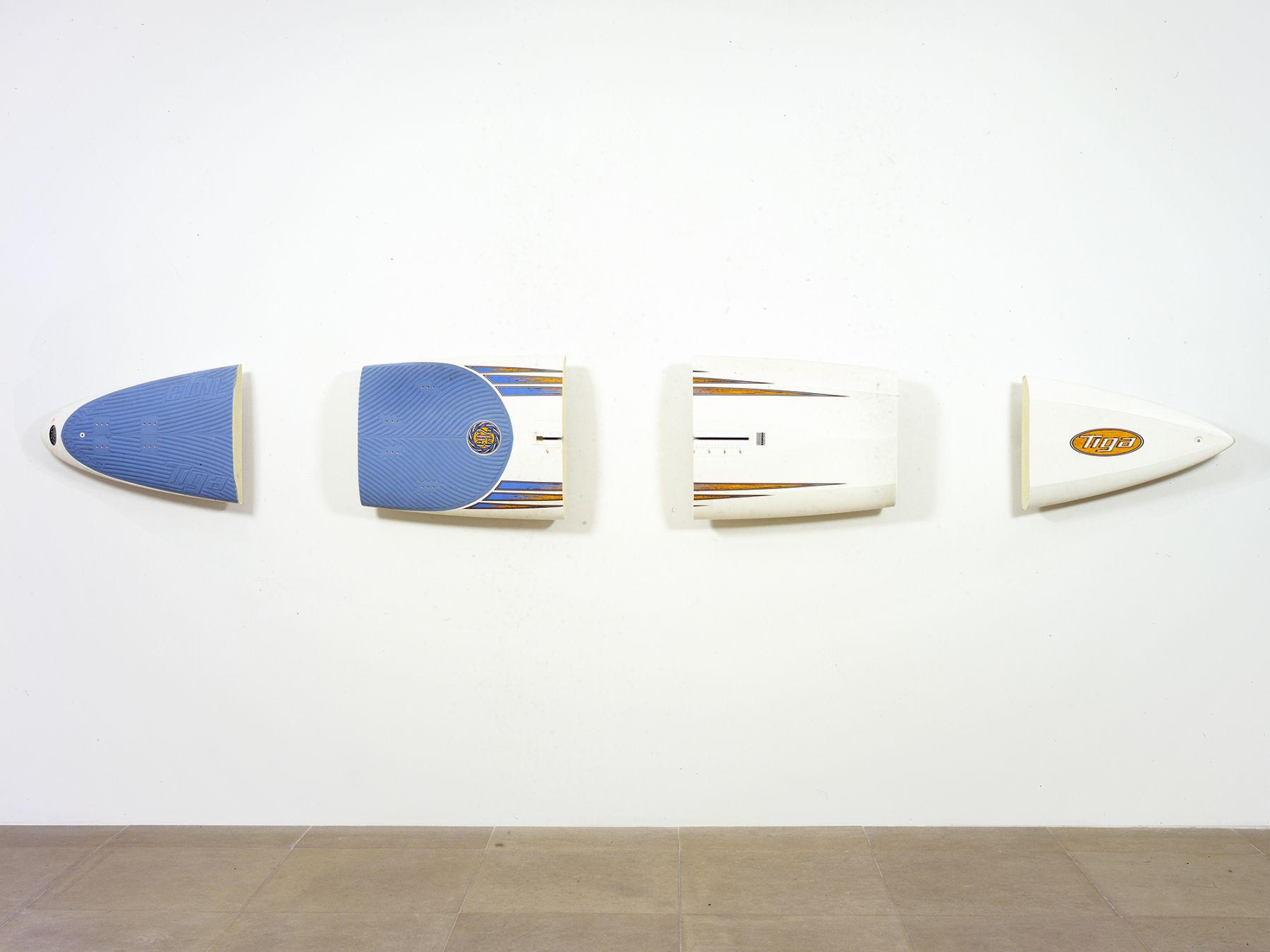 Michael Krebber, Tiga, 2008, Windsurfing board, wall mounts, 21 x 153 inches