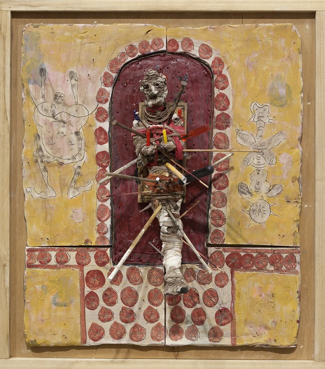 Richard Hawkins  Judas of Norogachi, 2016  Glazed ceramic, air-dry clay, rat trap, pig's blood, rags, candles and utensils in artist's frame  25 3/4 x 22 3/4 x 10 1/2 inches (65.4 x 57.8 x 26.7 cm)