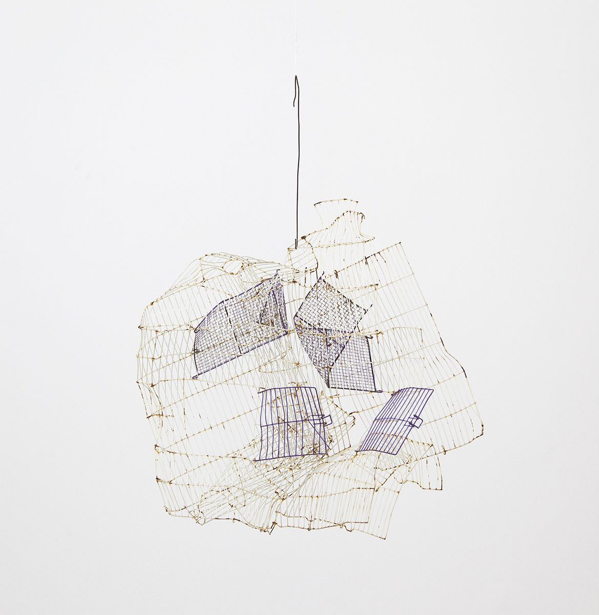 Gedi Sibony  The Shivered, 2018  Birdcage, wire  34 x 26 x 12 inches (86.4 x 66 x 30.5 cm)